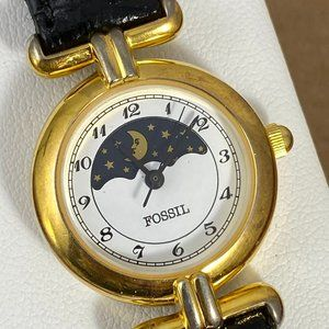 Vintage Fossil MOON PHASE Gold and Stainless Watch